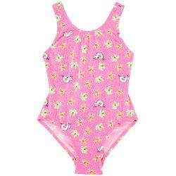 Flapdoodles Little Girls Summer Unicorn Swimsuit