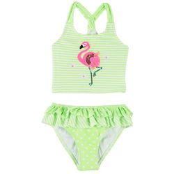 Flapdoodles Little Girls Stripe Flamingo Tankini Swimsuit