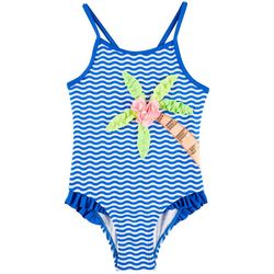 Flapdoodles Little Girls Embellished Palm Tree Swimsuit