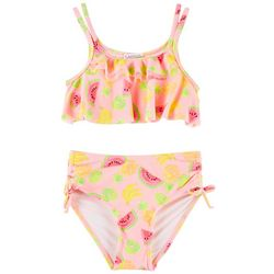 Flapdoodles Little Girls Fruit Print Ruffle Bikini Swimsuit