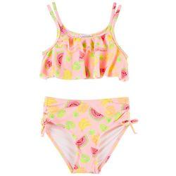 Flapdoodles Little Girls Fruit Print Ruffle Bikini Swimsuit