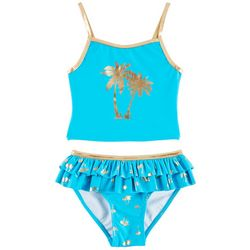 Flapdoodles Little Girls Foil Palm Tree Tankini Swimsuit