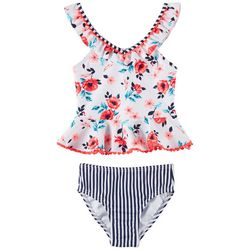 Flapdoodles Little Girls Garden Floral Tankini Swimsuit Set