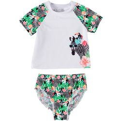 Flapdoodles Little Girls 2-pc. Floral Zebra Rashguard Set