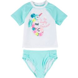 Flapdoodles Little Girls 2-pc. Seahorse Rashguard Swimsuit