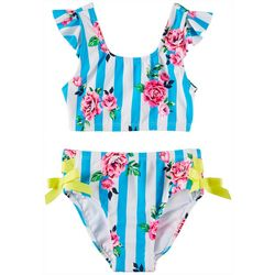 Flapdoodles Big Girls 2-pc. Rose Striped Swimsuit Set