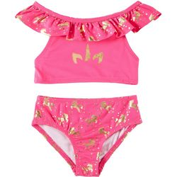 Penelope Mack Little Girls 2-pc. Unicorn Ruffle Swimsuit