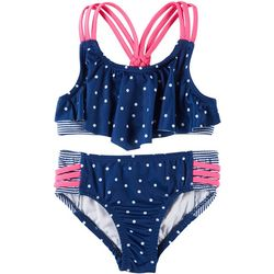Penelope Mack Little Girls 2-pc. Polka Dot Stripe Swimsuit
