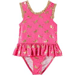 Penelope Mack Little Girls Unicorn Ruffle One Piece Swimsuit