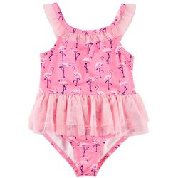 Penelope Mack Little Girls Flamingo Tutu One Piece Swimsuit