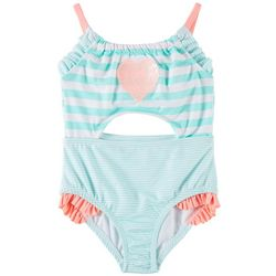 Penelope Mack Little Girls 1-pc. Heart Stripe Swimsuit