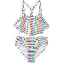Penelope Mack Big Girls 2-pc. Stripe Flouce Bikini Swimsuit