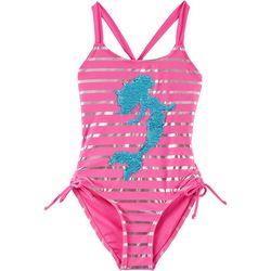 RMLA Little Girls Striped Sequin Mermaid Swimsuit