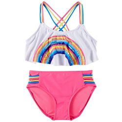 RMLA Big Girls 2-pc. Sequin Rainbow Bikini Swimsuit