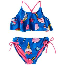 RMLA Little Girls Icon Print Flounce Bikini Swimsuit