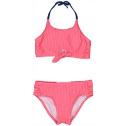 Jessica Simpson Big Girls Solid Tie Front Bikini Swimsuit