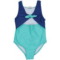 Jessica Simpson Big Girls Solid Tie Front One-Piece Swimsuit