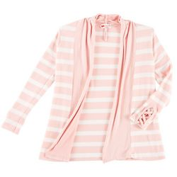 Poof Big Girls Stripe Crisscross Cardigan