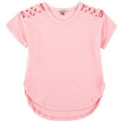 Poof Big Girls Solid Crisscross Sleeve T-Shirt