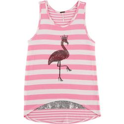 Poof Big Girls Sequin Flamingo Stripe Tank Top