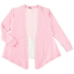 Poof Big Girls Heathered Open Front Double Layered Cardigan