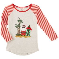 Poof Big Girls Beach Santa Raglan Top