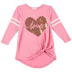 Poof Big Girls Love Sequined Knot Front Top