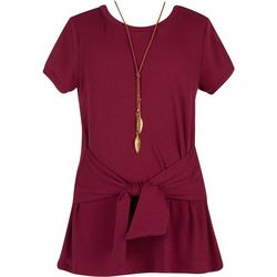 Speechless Big Girls Solid Ribbed Tie Front Top & Necklace