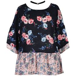 Speechless Big Girls Floral Colorblock Top