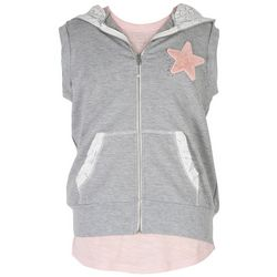 Speechless Big Girls Star Sleeveless Hoodie & T-Shirt Set