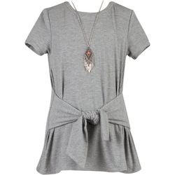 Speechless Big Girls Ribbed Tie Front Top & Necklace