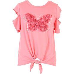 Speechless Big Girls Textured Butterfly Tie Front Top