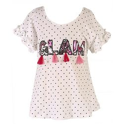 Speechless Big Girls Glam Tassel Dot Print Top