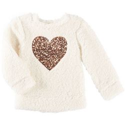 Miss Chievous Big Girls Sequined Heart Sherpa Sweater