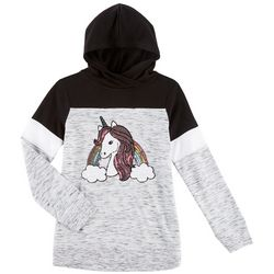 Miss Chievous Big Girls Rainbow Unicorn Hooded Top