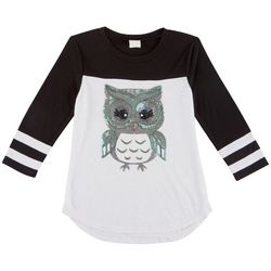 Miss Chievous Big Girls Sequined Owl T-Shirt