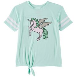 Miss Chievous Big Girls Unicorn Tie Front T-Shirt