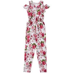 1st Kiss Big Girls Floral Ruffled Cold Shoulder Jumpsuit