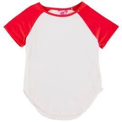 1st Kiss Big Girls Solid Raglan Baseball T-Shirt