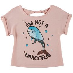 Beautees Big Girls I'm Not A Unicorn Short Sleeve Top