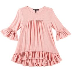 Derek Heart Girl Big Girls Heathered Peplum Ruffle Top