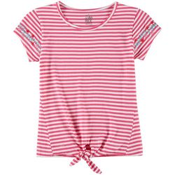 Star Ride Big Girls Striped Floral Tie Front Top