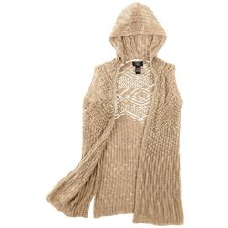 It's Our Time Big Girls Crochet Hooded Vest