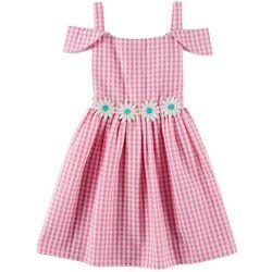 Emily West Little Girls Gingham Daisy Embellished Dress