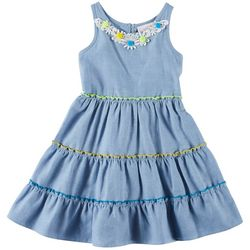 Emily West Little Girls Chambray Daisy Dress