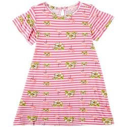 Poof Big Girls Striped Floral Flamingo Dress