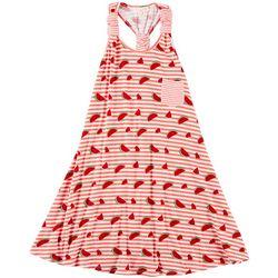 Poof Big Girls Watermelon Stripe Sleeveless Dress