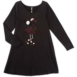 Poof Big Girls Sequin Christmas Flamingo Dress