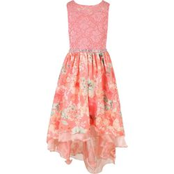 Speechless Big Girls Floral Lace Embellished Waist Dress