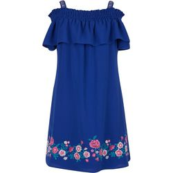 Speechless Big Girls Off The Shoulder Floral Ruffle Dress
